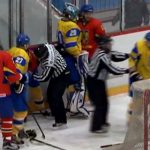 Матч сучастием сборной государства Украины похоккею закончился массовой дракой1